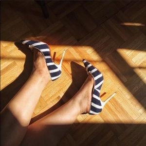 ⚡️Light and shadow⚡️navy white terry louboutin
